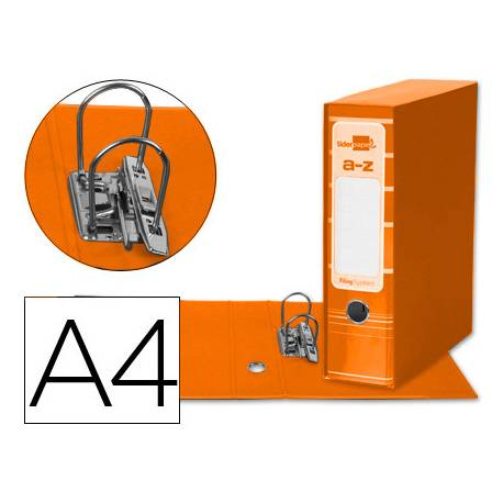 Archivador de palanca Liderpapel Filing System con caja A4 Lomo 80 mm color Naranja