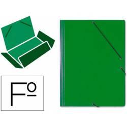 Carpeta Saro gomas solapas carton folio color verde