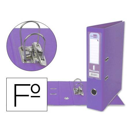 Archivador de palanca Liderpapel folio color lila lomo 75mm