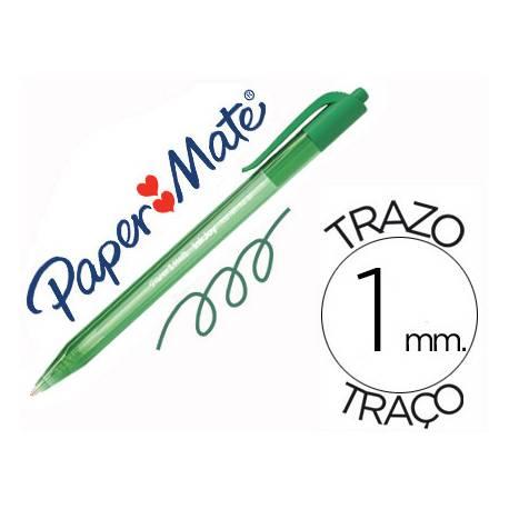Boligrafo Paper Mate Inkjoy 100 retráctil verde 1 mm