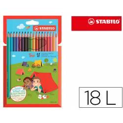 Lapices de colores marca Stabilo Trio Slim caja de 18 colores