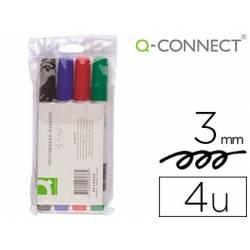 Rotulador Q-Connect pizarra blanca estuche de 4 colores surtidos punta redonda trazo 3.0 mm