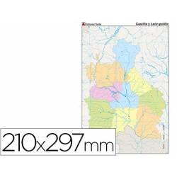 Mapa mudo político Castilla León Tamaño Din A4