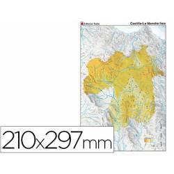 Mapa mudo físico Castilla La Mancha Tamaño Din A4