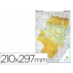 Mapa mudo físico Aragón Tamaño Din A4