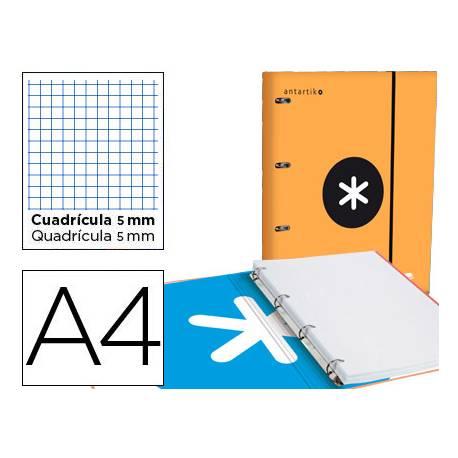 Carpeta con recambio Antartik A4 4 anillas 25 mm de Carton forrado color naranja