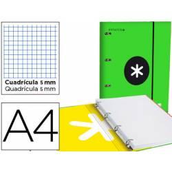 Carpeta con recambio Antartik A4 4 anillas 25 mm de Carton forrado color verde