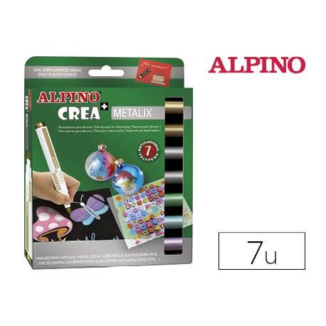 Rotuladores Alpino Crea Metalix Punta Fina Caja de 7 colores