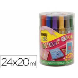 Pegamento Purpurina Uhu Colores Surtidos de 24x20ml Bote de 24 unidades