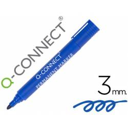 Rotulador Q-Connect punta de fibra permanente 3 mm color azul
