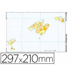 Mapa Mudo de Islas Baleares DIN A4 Político Color