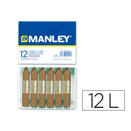 Lapices cera blanda Manley caja 12 unidades tierra sombra tostado