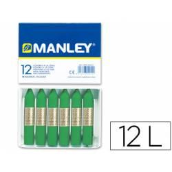 Lapices cera blanda Manley caja 12 unidades verde primavera