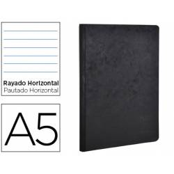Libreta Clarefontaine color negro A5 tapa cartulina rayado horizontal 96 hojas