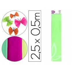 Papel crespon Liderpapel color verde fluorescente rollo 50x25cm 34g/m2