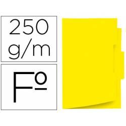 Subcarpeta cartulina color amarillo con pestaña central tamaño folio