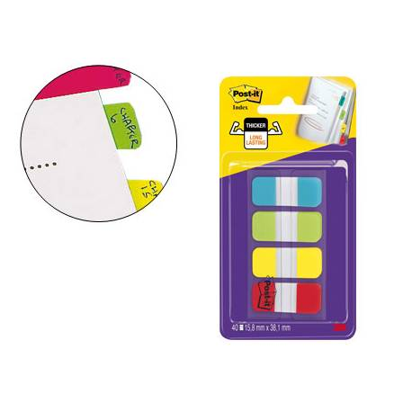 Banderitas Post-it ® separadoras Index rígidas dispensador 4 colores 15,8 x 38 mm