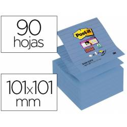 Post-it ® Bloc de notas adhesivas super sticky color azul 101 x 101 mm 90 hojas pack 5 blocs Z-notes