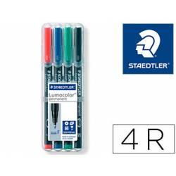 Rotulador Retroproyección Permanente Staedtler Lumocolor 318 de 4 Colores Surtidos Punta Superfina Redonda