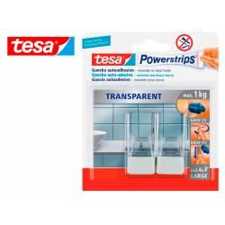 Gancho autoadhesivo marca Tesa grande transparente/acero con tiras
