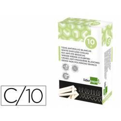 Tiza blanca antipolvo Liderpapel caja 10 unidades