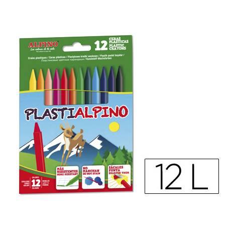 Lapices cera PlastiAlpino caja de 12 unidades colores surtidos