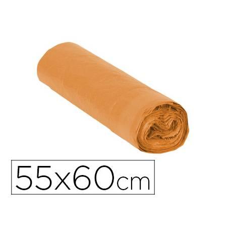 Bolsa basura naranja 55x60cm galga 120 rollo 15 unidades con cierre cierre facil