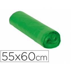 Bolsa basura verde 55x60cm galga 120 rollo 15 unidades con cierre cierre facil