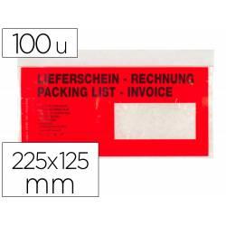Sobre autoadhesivo Q-connect portadocumentos 225x125 texto multilingue Paquete de 100