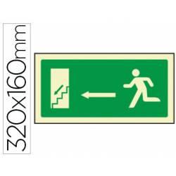 Señal marca Syssa salida emergencia izquierda escaleras