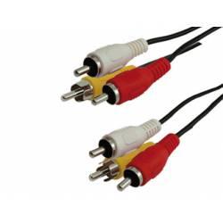 Cable RCA marca Mediarange longitud 3 metros audio y video 3 conectores