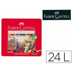 Lapices de colores Faber Castell hexagonales caja metal de 24 unidades