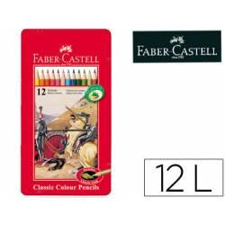 Lapices de colores Faber Castell hexagonales caja metal 12 unidades
