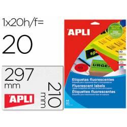 Etiqueta adhesiva Apli Din A4 color verde fluorescente