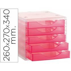 Modulo 5 cajones sobremesa marca Archivo 2000 rosa