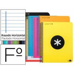 Bloc Antartik Folio Rayado Horizontal tapa Plástico 80 hojas 100g/m2 Colores surtidos con margen