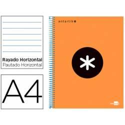 Bloc Antartik A4 Rayado Horizontal tapa Forrada 120 hojas 100g/m2 Naranja Flúor 5 bandas de color
