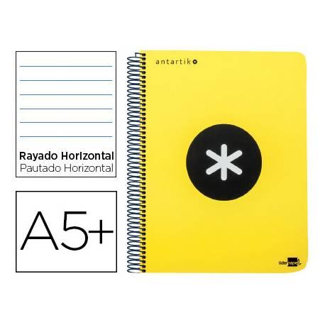 Bloc Antartik A5+ Rayado Horizontal tapa Plástico 100g/m2 Amarillo con margen