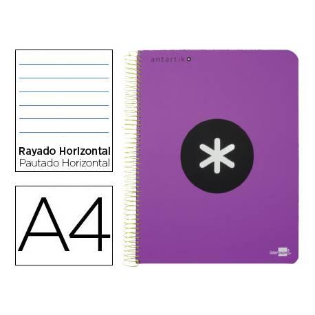 Bloc Antartik A4 Rayado Horizontal tapa Plástico 100g/m2 Violeta 5 bandas color