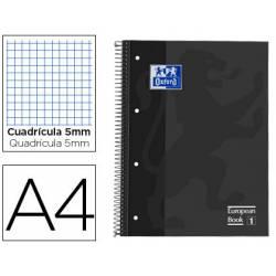 Cuaderno Oxford A4 Gris Tapa Extradura 80 hojas Cuadrícula 5 mm