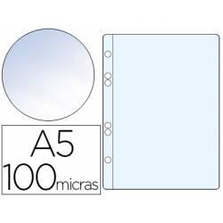 Funda multitaladro de plastico Q-Connect Din A5 100 micras cristal bolsa de 10