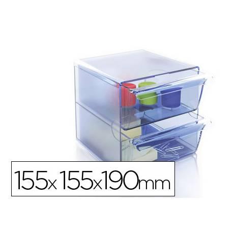 Archicubo Archivo 2000 organizador con 2 cajones azul transparente