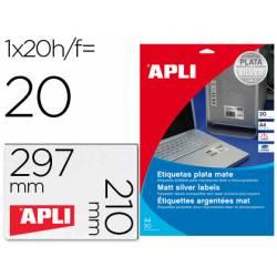 Etiqueta adhesiva marca Apli 10071 metalizada 210x297 mm caja 20 hojas con 20