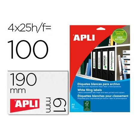 Etiqueta adhesiva marca Apli 1233 190x61 mm caja 25 hojas con 100