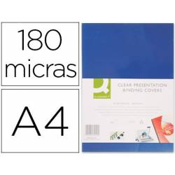TAPA DE ENCUADERNACION Q-CONNECT PVC DIN A4 OPACA AZUL 180 MICRAS CAJA 100 UNIDADES
