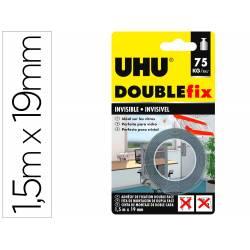 CINTA ADHESIVA UHU DOUBLEFIX INVISIBLE DOBLE CARA EXTRA FUERTE 1,5 M X 19 MM
