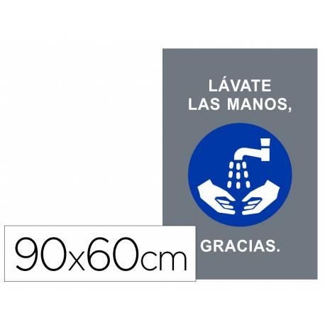 ALFOMBRA PARA SUELO DE PASO NOVUS LAVATE LAS MANOS GRACIAS FONDO GRIS 90X60 CM