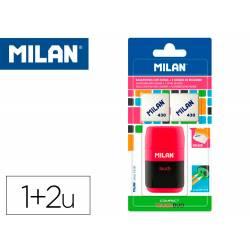 SACAPUNTAS MILAN COMPACT TOUCH DUO PLASTICO 2 USOS CON GOMA + 2 RECAMBIOS DE GOMA