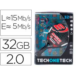 MEMORIA USB TECH ON TECH RAQUETA PADEL ROJA 32 GB
