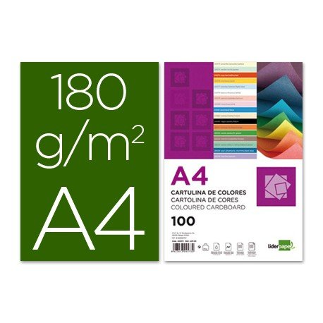 Cartulina Liderpapel color verde billar a4 180 g/m2